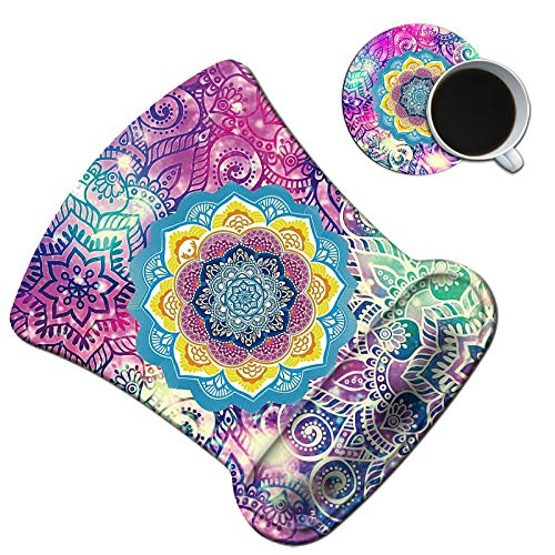 Dikoer Ergonomic Mouse Pad with Gel Wrist Support Cute Colorful Mandala Mousepad with Coasters Non-Slip Pain Relief Comfort Wrist Rest Mat for Laptop Gaming Internet Cafe Home Office