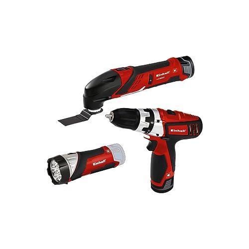 Einhell Kit d'outils TE-TK, 12 Li, 12 V avec 2 batteries lithium-ion, chargeur, visseuse avec embouts, outil multifonction avec feuilles abrasives et lame, spatule, lampe à LED