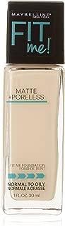 Maybelline New York Fit Me! Matte + Poreless Foundation, Porcelain [110] 1 oz (Pack of 2)
