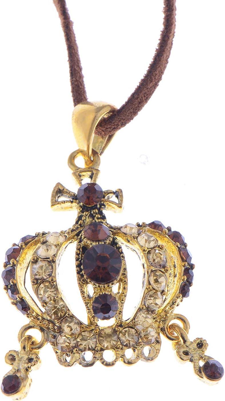 Alilang Antique Inspire Topaz Brown Crystal Rhinestones Royal Queen Crown Pendant Necklace