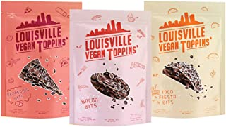 Louisville Vegan Jerky - Toppins' Bits Variety Pack: Bacon, Pepperoni, & Taco Fiesta Bits, Vegetarian & Vegan Friendly Jerky, 5-7 Grams of Protein (3 oz) | 3-Pack