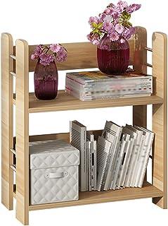 雜誌架現代簡約2層木地板框架,MDF書櫃儲物架家居用品,雜誌報紙架實用擱板50X26X60cm(顏色:A)