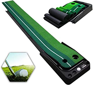 Qdreclod Golf Putting Green with Ball Return Golf Putting Mat 9.8 ft X 11.8 Inch Portable Golf Practice Mat Golf Training Equipment for Home Office Indoor Outdoor