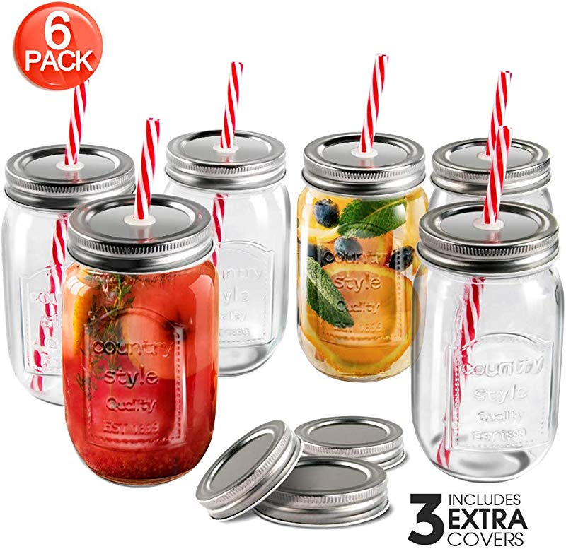 Mastertop 6 Pcs 16 9 Ounce Mason Drinking Jars With Lids Recycled Glass Bottles And Drinking Straws With 3 Extra Sealing Lid