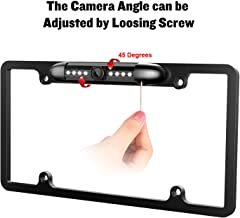 License Plate Frame Backup camera Car Rear view Waterproof 8 Infrared LED High Sensitive Night Vision Wide Viewing Angle 175° License Metal Frame US Plate Camera Universal Reversing Parking Aid System