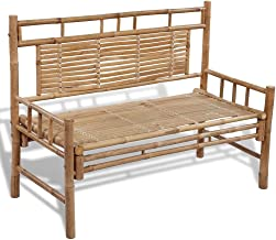 vidaXL Bamboo Bench with Backrest Garden Patio Chair Seat Outdoor Furniture