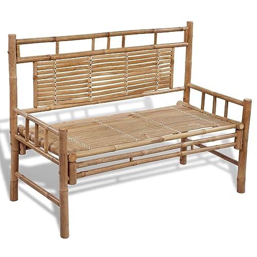 vidaXL Banc avec dossier en bambou Banc de jardin mobilier pour parc terrasse