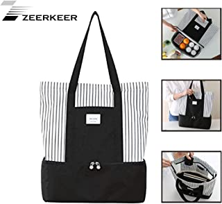 ZEERKEER 2-2-in-1 Trendy Travel Totes - Insulated Lunch Bag Large Insulated Cooler Tote Bag andTeacher Bag for Camping,Bea...