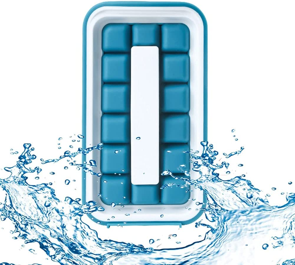 Molde de Cubitos de Hielo,Molde de Silicona dos en uno con Tapa, Cubitera y Botella de agua, con asa, Desmontable (Color: azul)