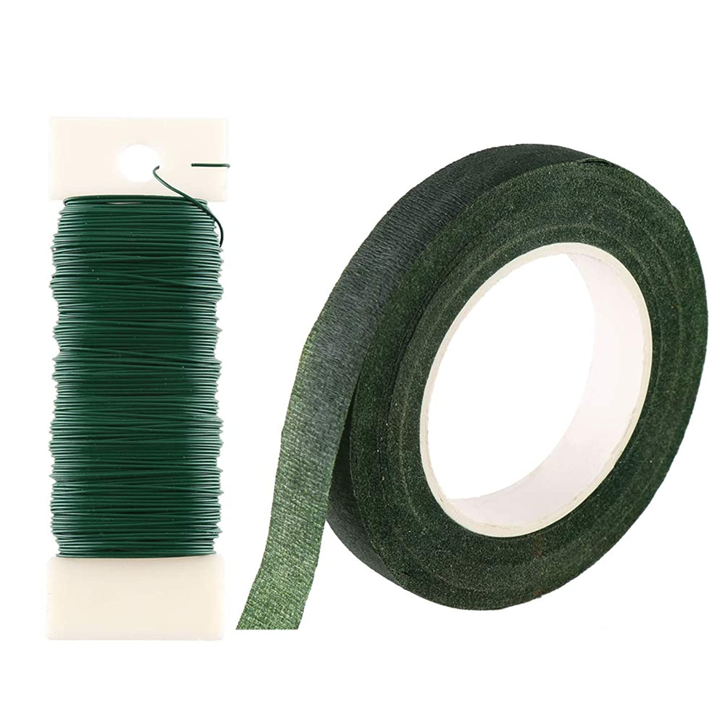 CCINEE Floral Arranging Kits 1/2 Inch Dark Green Floral Tape with 22 Guage Dark Green Paddle Wire 40 Meters/ 43.7 Feet