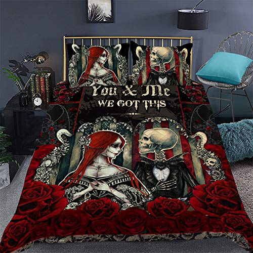 GEEMBI Quilt Bedding Set-You and Me We Got This Skull Couple Quilt Bed Set TRL175QS1, Queen Size Coverlet for All Season-Soft Microfiber Bedspread+Pillows-Quilts Gifts (King,Queen,Twin)