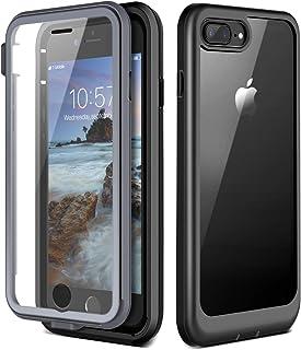 Prologfer Funda para iPhone 7 Plus / 8 Plus 360 Grados Transparente Carcasa Resistente con Protector de Pantalla incorporada Prueba de Golpes y Suciedad Cover para iPhone 7 Plus / 8 Plus Negro