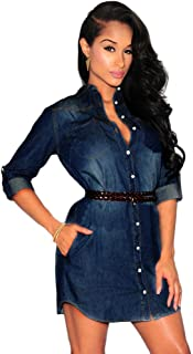 c6a8f72dc362b Holywin Robe en Dentelle Sexy en Denim pour Femmes Chemise Boutonnée Mini Robe  Jeans Hauts Longs