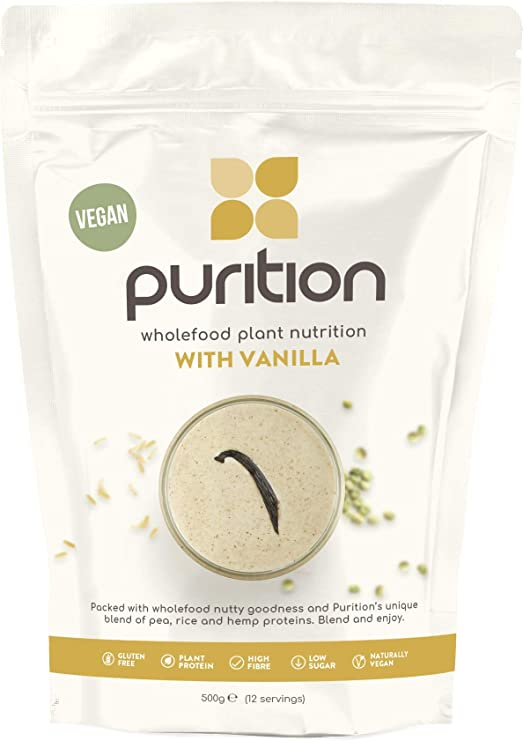 Purition Vegan Vanilla Dairy Free Natural Protein Powder for Keto Diet Shakes