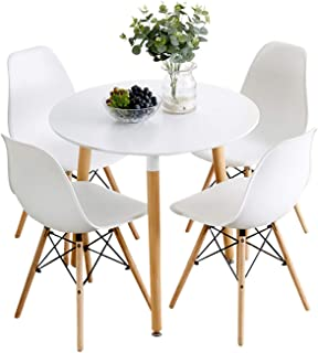 Nicemoods Kitchen Dining Table White Round Coffee Table, Modern Leisure Wooden Tea Table,Home Easy-Assembly Office Conference Pedestal Desk 31.5x31.5 inches & Set of 4 Dining Chairs,White+White