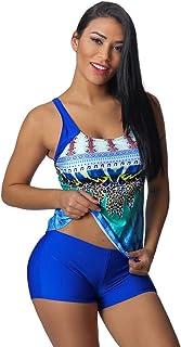 JFLYOU - Traje de baño para mujer, talla grande, estampado bohemio, traje de baño de 2 piezas