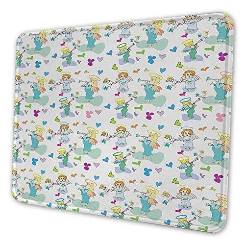 Engel Tastatur Pad Elfen mit Trompete Blumen Herzen Amor Schmetterlinge Baby Liebe Saison Kinderzimmer Cartoon Maus Pad für Männer Lustige Multicolor 16x24x0.08 Zoll