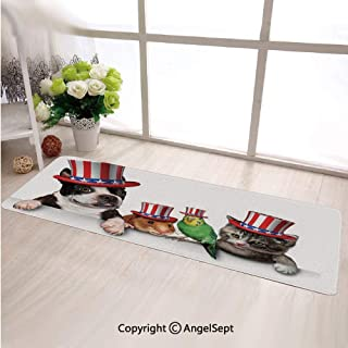Fashion Super Soft Long Rectangle Carpet,Cute Pet Animal Dog Cat Bird and Hamster with American Hat Celebration Multicolor,Long Mat For Living Room Bedroom Accent Home Decorate