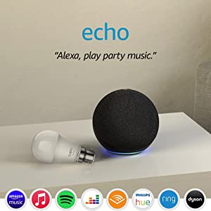Echo (4th generation) | With premium sound | Charcoal + TP-Link Tapo Smart Bulb (B22), Works with Alexa