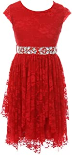 BNY Corner Short Sleeve Floral Lace Ruffles Holiday Party Flower Girl Dress