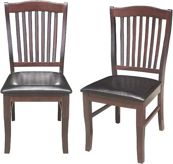 Giantex 2 件套餐椅木质无扶手椅家用厨房餐厅高背椅 W PU 皮革软垫座椅 17 5 21 40 W D H 梳子靠背椅子深棕色
