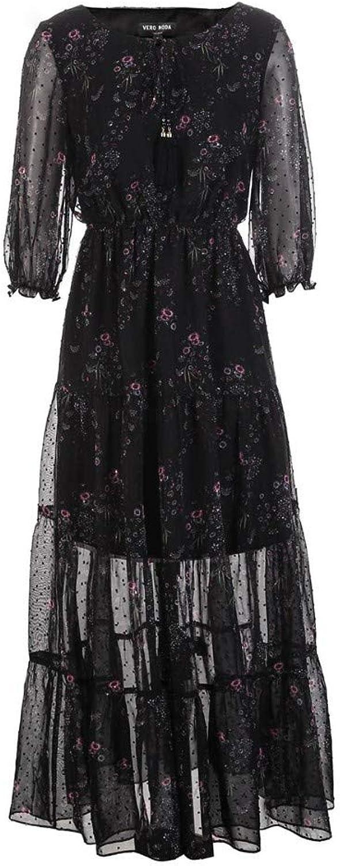 Woman Dress Neckline with Decorative SevenPoint Sleeve Print Dress