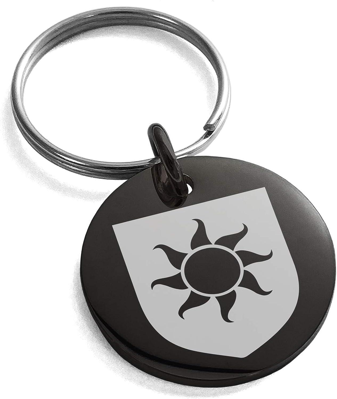 Tioneer Stainless Steel Sun Splendor Coat of Arms Shield Symbol Small Medallion Circle Charm Keychain Keyring
