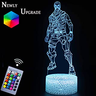 Skull Trooper Night Light Lamps Fortress Battleroyale 3D Optical Illusion LED Nursery Nightlights Gifts for Game Lovers Remote Control & RGB Colors Display for Kids Boys Bday Xmas (Skull Trooper)