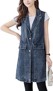 Lentta Women's Lapel Button Up Sleeveless Denim Jean Mid Long Vest Gilet Jacket