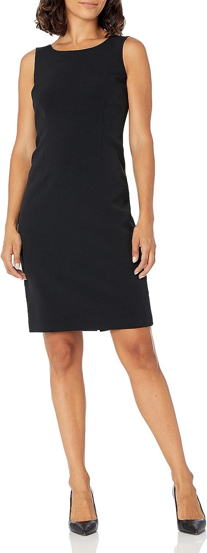 Le Suit Women's Crepe Long Coat & Basic Sheath Dress