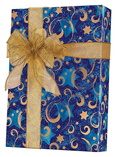 Star of David Swirled Hanukkah Gift Wrapping Paper Roll - 24' x 15'