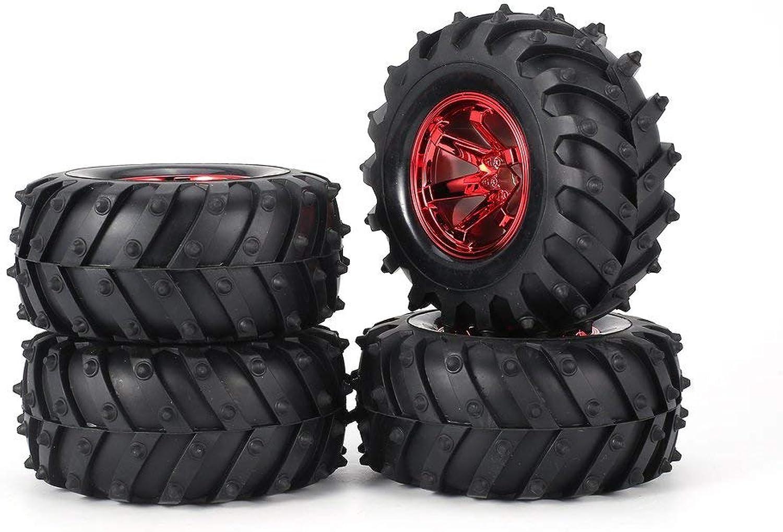 AUSTAR 4pcs 125mm Rim Rubber Tyre Tire Wheel for 1 10 RC Big Feet Cars Model Red