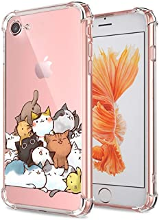 iPhone 7 8 Case Cute, Ultra Crystal Transparent Gel Soft Slim Thin TPU Silicone Clear with Design Cat Texture Shockproof Cover Funny Cartoon Animal Bumper Protective Case for Apple iPhone 7 8 4.7 Inch