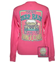 Girlie Girls Jeep Hair Dont' Care Long Sleeve Pink T-Shirt