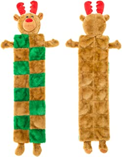 EXPAWLORER Christmas Elk Dog Squeaky Chew Toys, Durable Plush Toys for Teething and Hunting