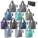 Reusable Grocery Bags Lightweight Durable Shopping Bags Washable Foldable 12 Pack Xlarge Classic Geometric Design Gift Tote Grocery Bags with Elastic Band and Separated Zipper Storage Pouch