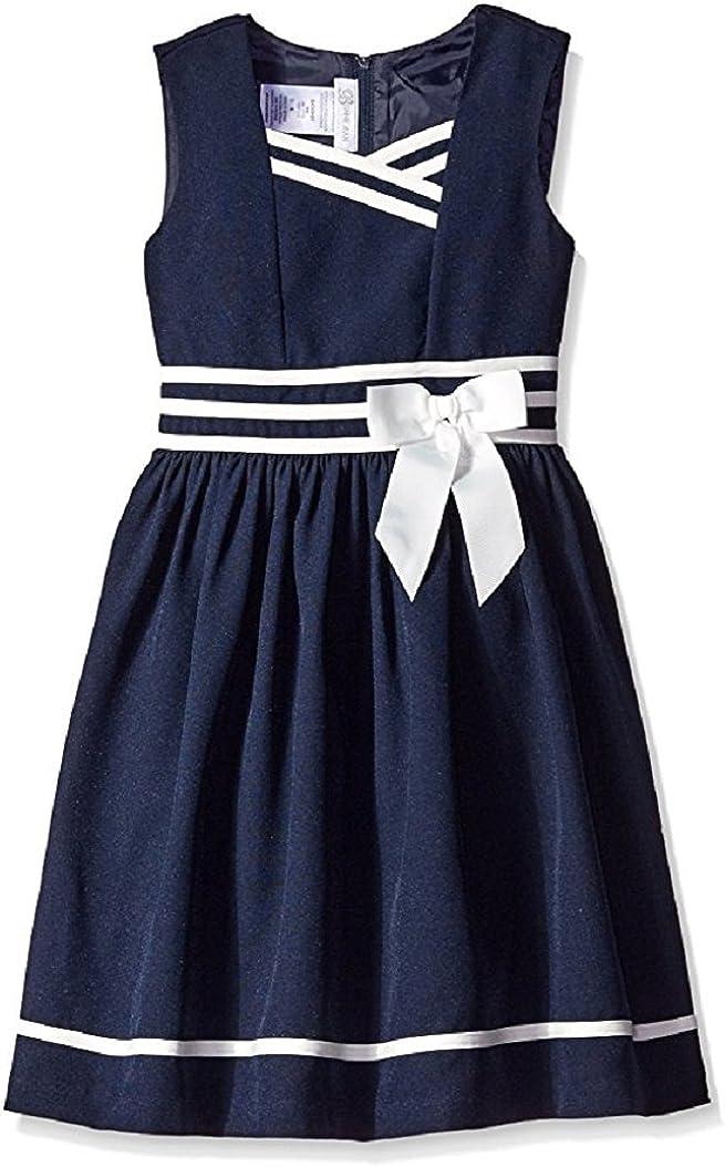 Bonnie Jean Girls' Easter Poplin Nautical Uniform Dress with Contrast Banding, 4-6X