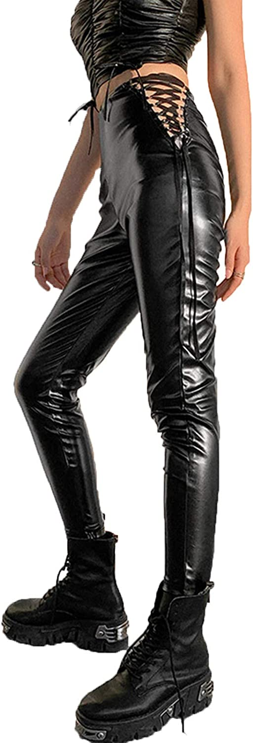 Gothic Pants for Women Sexy High Waist Side Lace Up Leather Pants Classic Fit Long Punk Pants