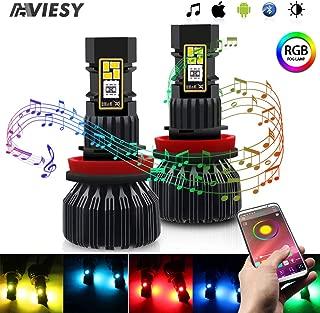 RGB LED Fog Light Bulb, Viesyled H11/H8/H9 3020 SMD Multi-color APP Bluetooth Control Super Bright 1800LM Driving DRL Fog Lights Bulbs 2 Pack