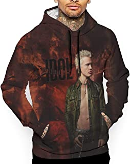 Quxueyuannan Mens 3D Print Hoodie Sweatshirt Billy Logo Idol Sports Activities Cotton Sweater