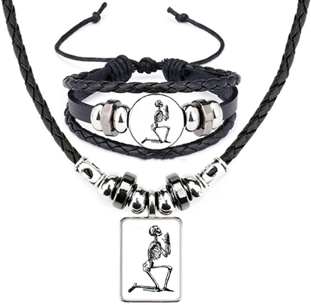 Praying Human Skeleton Sketch Leather Necklace Bracelet Jewelry Set