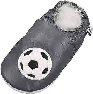 Zapatillas de Piel para niños (Suela de Ante, Tallas de la 17 a la 31), diseño de fútbol, Color Gris