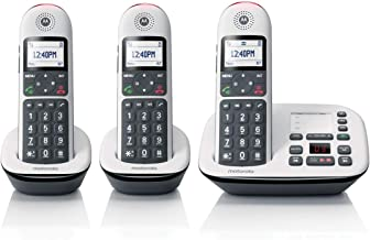 $56 » Motorola CD5013 DECT 6.0 Cordless Phone with Answering Machine, Call Block and Volume Boost, White, 3 Handsets (Renewed)