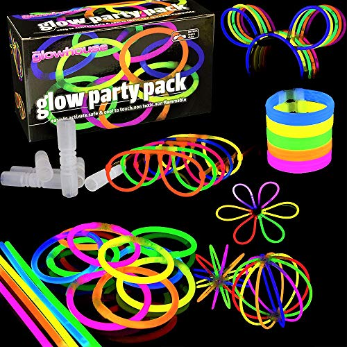 100 Glow Stick Party Pack - Premium Quality - Glowhouse UK Kit to Create: Glowsticks, Bracelets, Necklaces, Glasses, Triple Bracelets, Bunny Ears, Balls, Flowers & Much More!