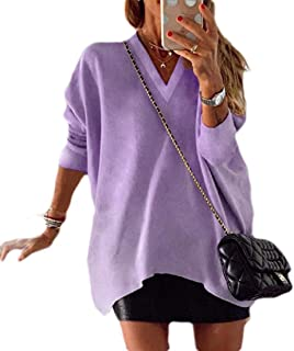 GRMO Womens Long Sleeve Casual Shirt V Neck Solid Baggy Blouse Top T-Shirts