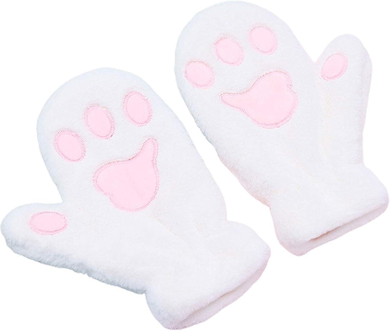 Winter Gloves for Women, Fuzzy Plush Full Finger Gloves Cartoon Cat Paw Soft Lining Windproof Ski Mitten for Running Driving