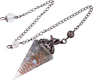 "Nupuyai Crystal Point Pendulum for Reiki Dowsing Divination, Orgone Pendulum Cone Faceted Stone Pendant with Chain 9.5"" Long"