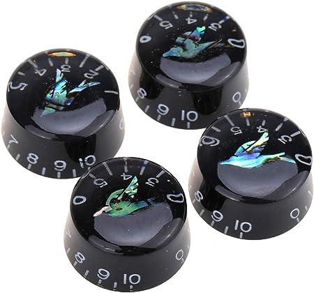 Musiclily Proミリ規格 アワビバードトップ レスポールスタイルのエレキギター用スピードノブ、ブラック(4個セット)