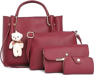 Fostelo Women's Galaxia Collection PU Leather Handbag Combo (Set Of 4) (Maroon)