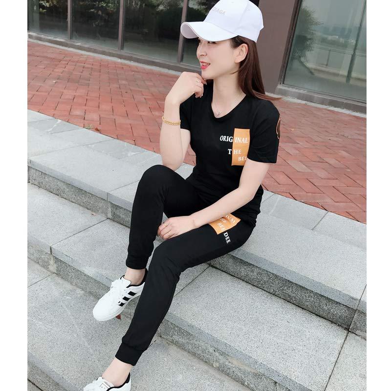 2019夏季新款男女圆领t恤修身运动装情侣休闲套装两件套潮流短袖T112套装黑色女 XL